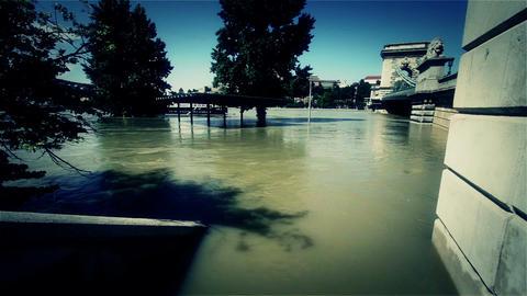 2013 Flood Budapest Hungary 42 chain bridge Stock Video Footage