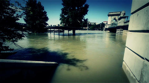 2013 Flood Budapest Hungary 42 chain bridge Stock Video Footage