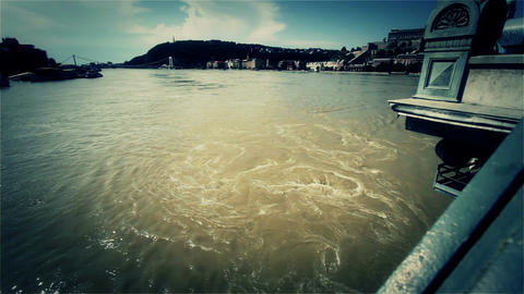 2013 Flood Budapest Hungary 44 From Chain Bridge stock footage