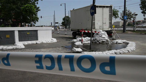 2013 Police Closed Area Flood Budapest Hungary 4 Stock Video Footage