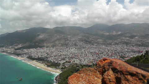 Alanya Turkey 33 aerial from alanya castle Stock Video Footage