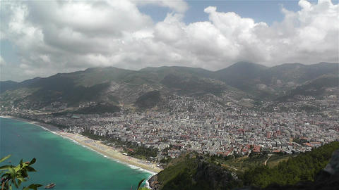 Alanya Turkey 35 aerial from alanya castle Stock Video Footage
