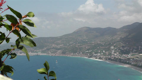 Alanya Turkey 37 aerial from alanya castle Stock Video Footage