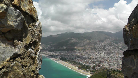 Alanya Turkey 41 aerial from alanya castle steady Footage
