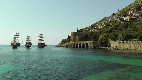 Alanya Turkey 97 ships Stock Video Footage