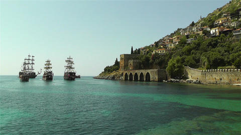 Alanya Turkey 97 ships Stock Video Footage
