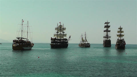 Alanya Turkey 100 ships Stock Video Footage