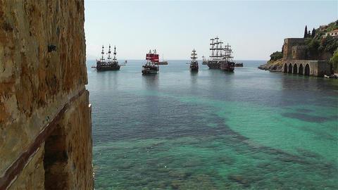 Alanya Turkey 108 ships Stock Video Footage