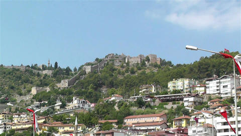 Castle of Alanya Turkey 2 zoom out Stock Video Footage