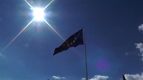 European Union Flag 2 zoom out Footage