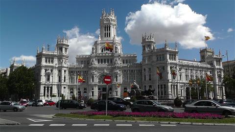 Plaza De Cibeles Palacio De Comunicaciones 3 Stock Video Footage