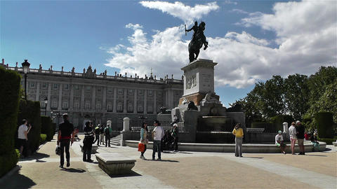 Plaza De Oriente Royal Castle Madrid Spain 1 Stock Video Footage