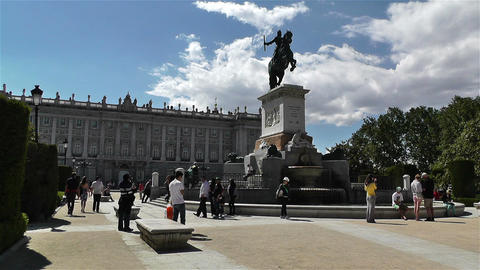 Plaza De Oriente Royal Castle Madrid Spain 1 stock footage