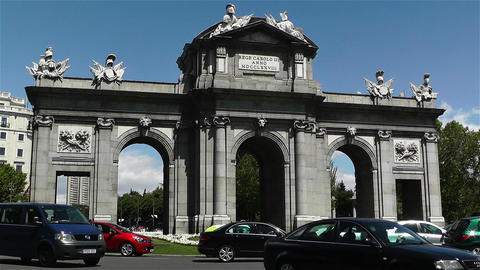Plaza Independencia Puerta De Alcala Madrid Spain Stock Video Footage