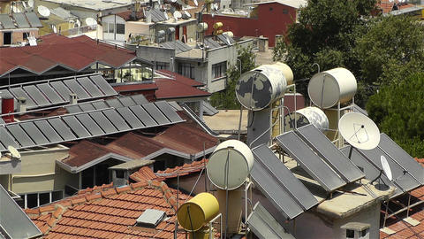 Sun Collectors and Water Tank in Turkey 1 Stock Video Footage