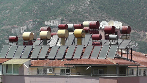 Sun Collectors and Water Tank in Turkey 3 Stock Video Footage