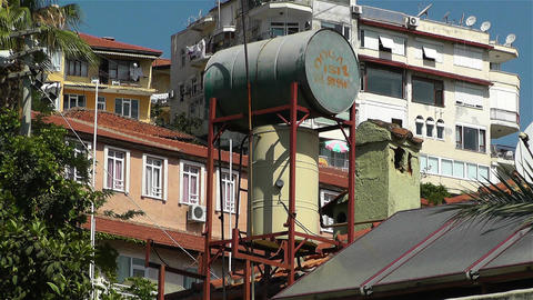 Sun Collectors and Water Tank in Turkey 5 Stock Video Footage