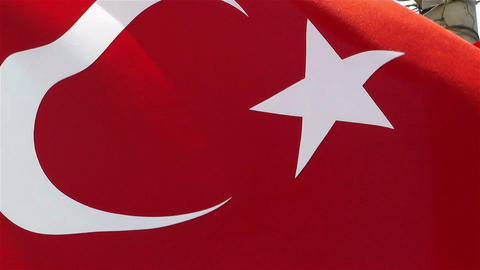 Turkish Flag native slowmotion Stock Video Footage
