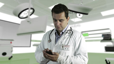 Young Doctor Smartphone Texting Operation Room 2 Stock Video Footage
