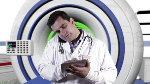 Young Doctor Tablet PC Cell Phone Operation Room 3 Stock Video Footage