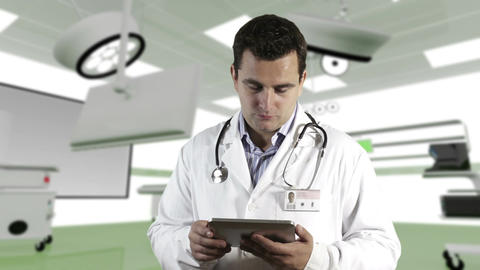 Young Doctor Tablet PC Operation Room 2 Stock Video Footage