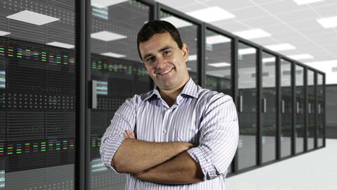 Young Man Smiling CPU Server Unit Room 2 Stock Video Footage