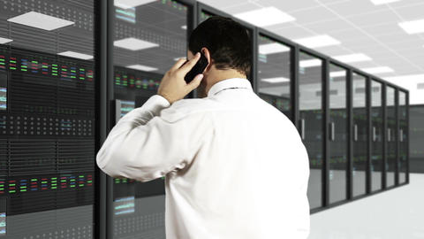 Young Man Talking Phone CPU Server Unit Room 2 Stock Video Footage