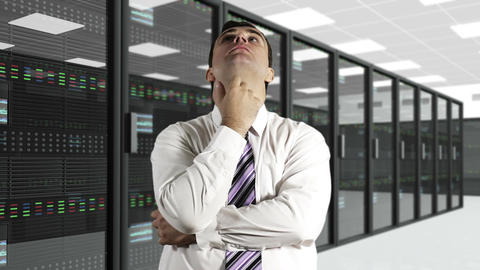 Young Man Thinking CPU Server Unit Room 2 Stock Video Footage