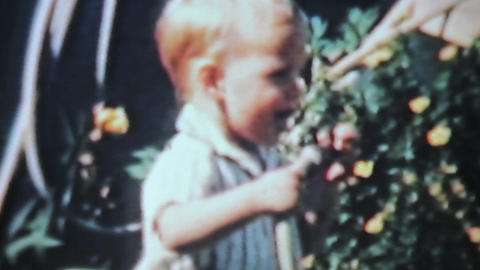 Boy Playing With Garden Hose 1963 Vintage 8mm film Stock Video Footage