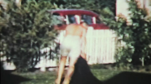 Grandfather Gives Grandson A Ride 1963 Vintage Stock Video Footage