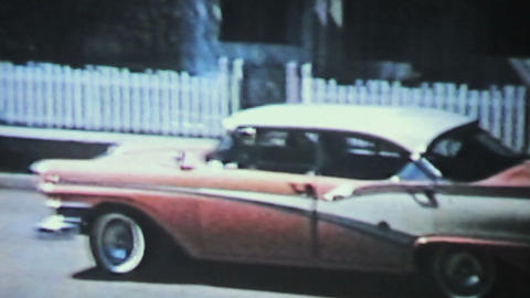 New Car Backing Up 1958 Vintage 8mm film Footage