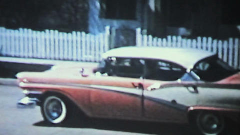 New Car Backing Up 1958 Vintage 8mm film Stock Video Footage