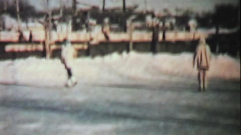 Teenage Girls Skating In Winter 1958 Vintage 8mm Stock Video Footage