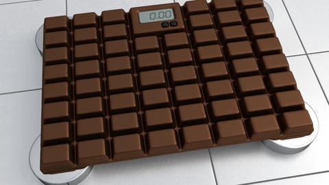 3D Bathroom Scale - Chocolate Stock Video Footage