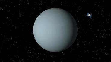 Satellite Approaches Uranus Stock Video Footage