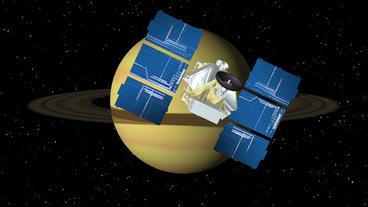 Satellite Approaches Saturn Animation