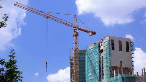 Crane and construction site 1 Stock Video Footage