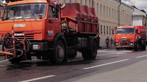 Watering machines in Moscow Stock Video Footage