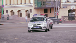 Russian road patrol service car Stock Video Footage