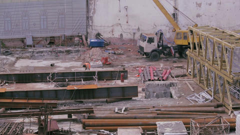 Building reconstruction in city Stock Video Footage