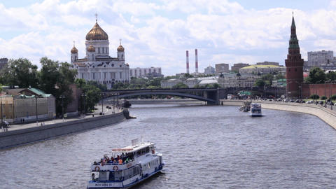 Moscow cityscape. Panning Footage