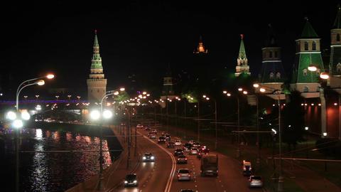 Moscow Kremlin at night. Bokeh lights Stock Video Footage