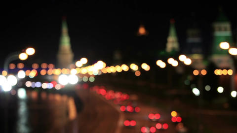 Moscow Kremlin at night. Bokeh lights Stock Video Footage