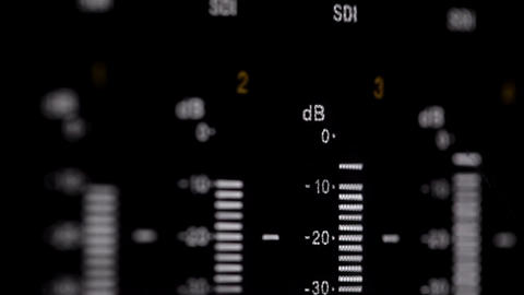 Sound indicators on the professional video recorde Stock Video Footage