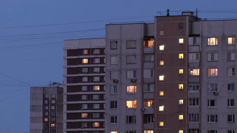 Buildings at night 2 Stock Video Footage