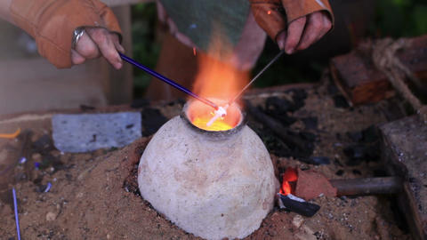 Glass artist in his workshop 2 Stock Video Footage