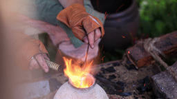 Glass artist in his workshop 4 Stock Video Footage