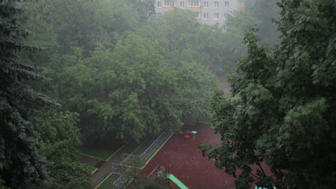 Heavy rain. High angle view from window 2 Footage