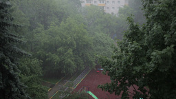 Heavy rain. High angle view from window 2 Stock Video Footage