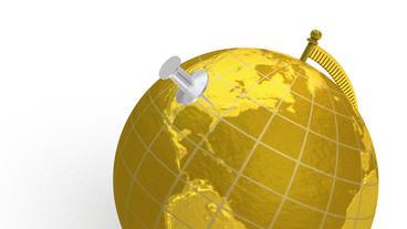 Gold globe spins, pin lands on Atlanta Georgia Stock Video Footage